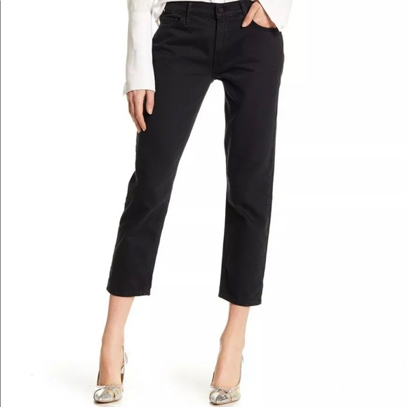 MOTHER Pants - Mother black denim slim Jeans THE DROP OUT cropped